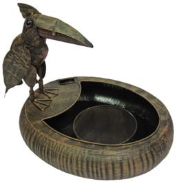 Fontein metaal met vogel
