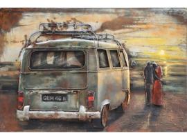 Volkswagen bus, schilderij van metaal