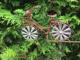 Tuinsteker windspel met rode fiets