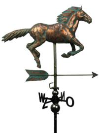 Windwijzer of tuinbeeld Paard KOPER met RVS