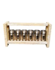 Prachtig houten kruidenrekje met 6 potjes