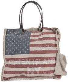 vintage stars & stripes shopper boodschappentas