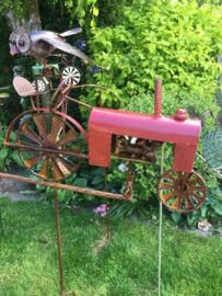 Tuinsteker balans tractor rood