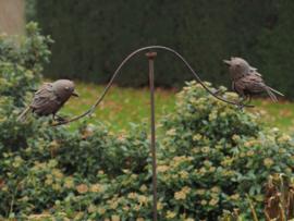Tuinsteker windspel met 2 vogels