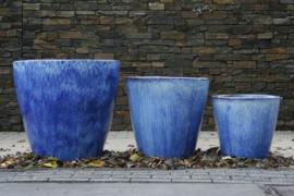 Blauw geglazuurde  potten set