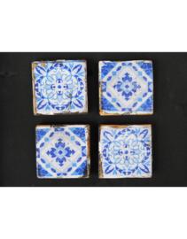 Houten onderzetter set 4 stuks blauw