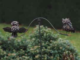 Tuinsteker windspel met 2 uilen