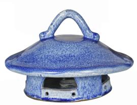 Voederhuis  van keramiek blauw/wit