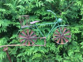 Tuinsteker windspel met groene fiets