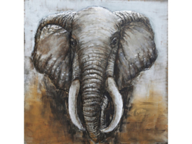 Olifant, schilderij van metaal