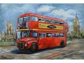 Engelse bus dubbeldekker, schilderij van metaal