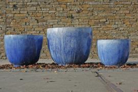 Blauw geglazuurde  potten