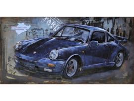 Blauw/zwarte sportauto...., schilderij van metaal