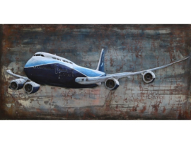 Vliegtuig, schilderij van metaal