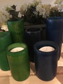 Kandelaar bamboe blauw
