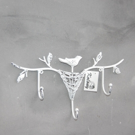 Wandkapstok 3 haken met vogel