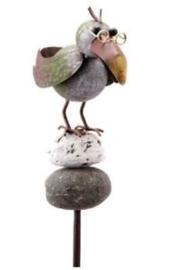 Tuinsteker vogel op steen