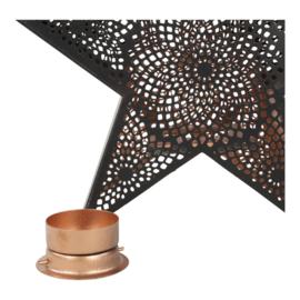 Windlicht (Kerst) ster zwart goud