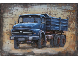 Blauwe vrachtwagen, schilderij van metaal