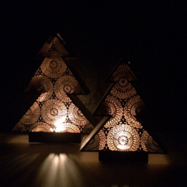 Windlicht Kerst zwart goud