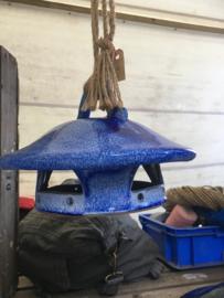 Vogel voederhuis  van keramiek blauw/wit