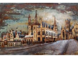 Impressie Gent, schilderij van metaal