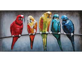 Vogels, schilderij van metaal
