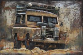 Landrover Defender, schilderij van metaal