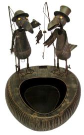 Fontein metaal met vissende vogels