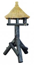 Vogelhuis/voederhuis met rieten dak type zwarte spreeuw