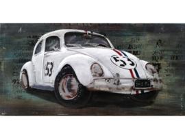 witte sportauto...., schilderij van metaal