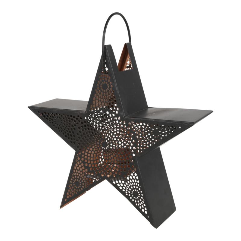 Windlicht Kerst ster zwart goud