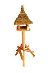 Vogelhuis/voederhuis rieten dak type pestvogel