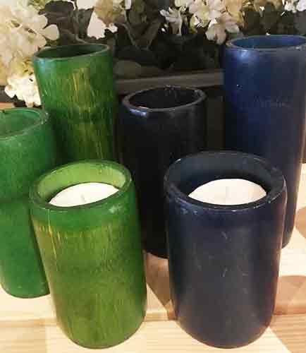 kandelaar van bamboe in prachtige kleuren