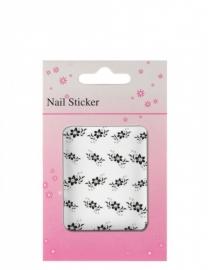 Nagels sticker zwart Bloemen met stenen