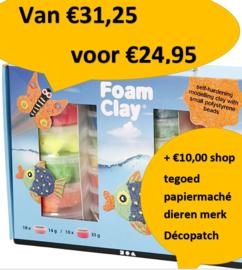 FoamClay mega pakket pallet actie + €10,00 shop tegoed papiermaché dieren