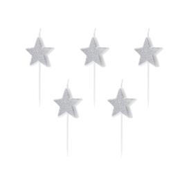 Verjaardagskaarsjes Ster zilver glitter - 5 stuks