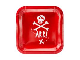 Bordjes rood Piraat - 6 stuks