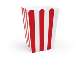 Popcorn doosjes rood-wit gestreept - 6 stuks
