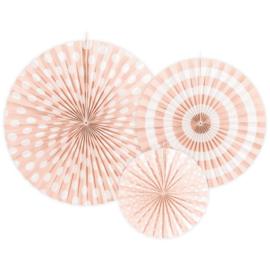 Papieren waaiers roze met motief 3 stuks
