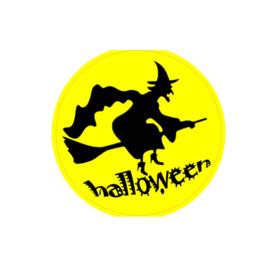 Ronde sticker Halloween Heks op bezem  - 10 stuks