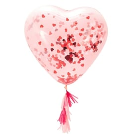 Hartvormige confetti ballon