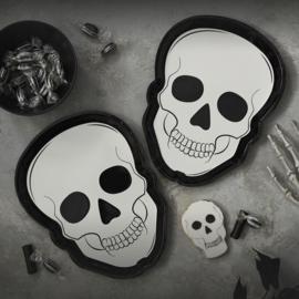 Halloween doodskop bordjes - 8 stuks