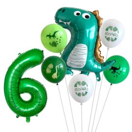 Dino 6-delige ballonnenset - cijfer 6
