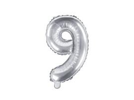 Cijfer ballon zilver - 9