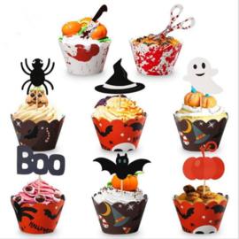 Halloween cupcake wikkel met topper - set van 8