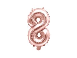 Cijfer ballon rosé kleurig - 8