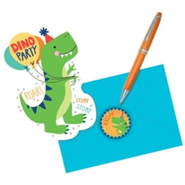 Dino Mite uitnodigingskaartjes - 8 stuks