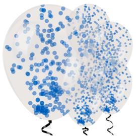 Confetti ballon  blauw - 6 stuks