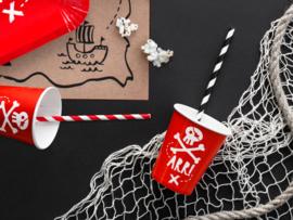 Beker rood Piraat - 6 stuks